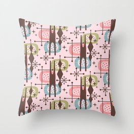 Retro Atomic Mid Century Pattern Pink Green Blue and Brown Throw Pillow