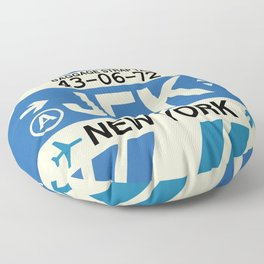 JFK New York • Airport Code and Vintage Baggage Tag Design Floor Pillow