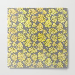 Leaves in Yellow and Grey Pattern Metal Print