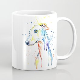 Greyhound Colorful Watercolor Pet Portrait Painting Coffee Mug