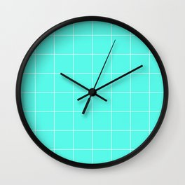 Graph Paper (White & Turquoise Pattern) Wall Clock