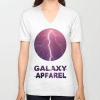 lightning V-neck T-shirts featuring LIGHTNING by GALAXY APPAREL