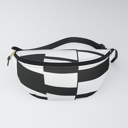 Slanting Rectangles - Black and White Graphic Art by Menega Sabidussi Fanny Pack