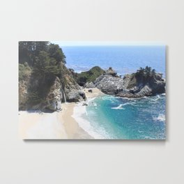 Julia Pfeiffer Burns State Park Beach and Waterfall Metal Print