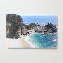 Julia Pfeiffer Burns State Park Beach and Waterfall Metal Print