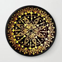 Gold Metallic Mandala on Black Background #2 Wall Clock