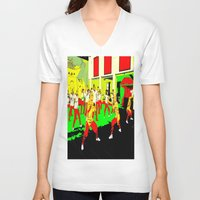 workout V-neck T-shirts featuring Workout by lookiz