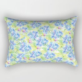 Abstract pink blue green hand painted watercolor floral Rectangular Pillow