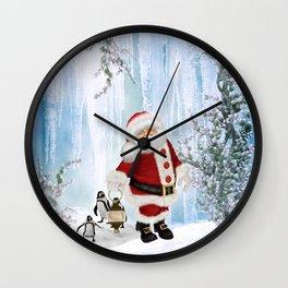 Santa Claus with funny penguin Wall Clock
