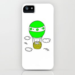 childishly Hand drawn little boy in a air balloon iPhone Case