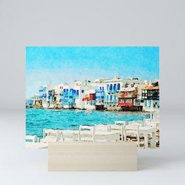Watercolor Little Venice in Mykonos Mini Art Print