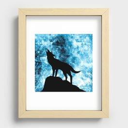 Howling Winter Wolf snowy blue smoke Recessed Framed Print