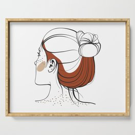 Red-haired woman with freckles. View from the back. Abstract face. Fashion illustration Serving Tray