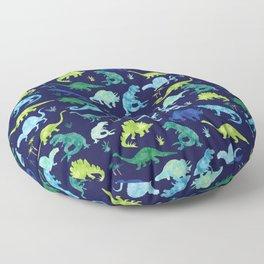 Watercolor Dinosaur Blue Green Dino Pattern Floor Pillow