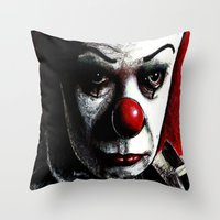 pennywise Throw Pillows featuring Pennywise by Alycia Plank
