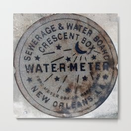 Street Water Meter - New Orleans LA Metal Print