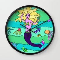 mermaid Wall Clocks featuring Mermaid by Linda Tomei