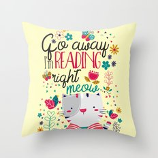Reading Right Meow Throw Pillow