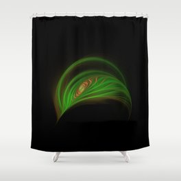 Gold Green Peacock Feather Shower Curtain