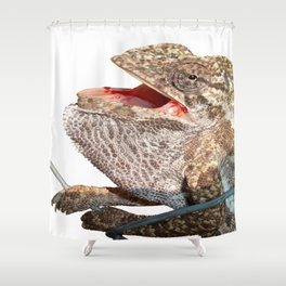 A Chameleon With Open Mouth Isolated Shower Curtain