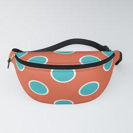 Geometric Orbital Candy Dot Circles - Peppermint Blue & Citrus Orange Fanny Pack