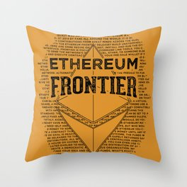 Ethereum Frontier (black on orange) Throw Pillow