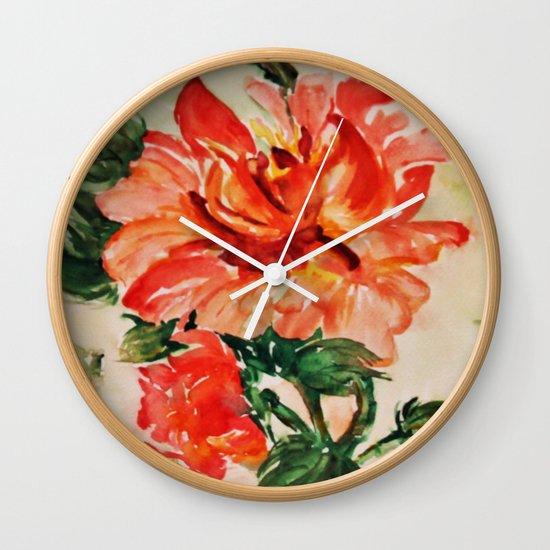 red rose japanese art Wall Clock
