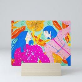 Girls Hanging Out in Garden Mini Art Print