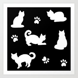 White Cats and Paw Prints Pattern on Black Art Print