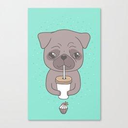 Pug, coffee & cupcake Canvas Print