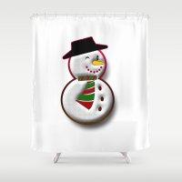 snowman Shower Curtains featuring Snowman by Gaspar Avila