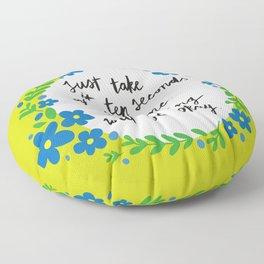 Ten Seconds - Lime Floor Pillow