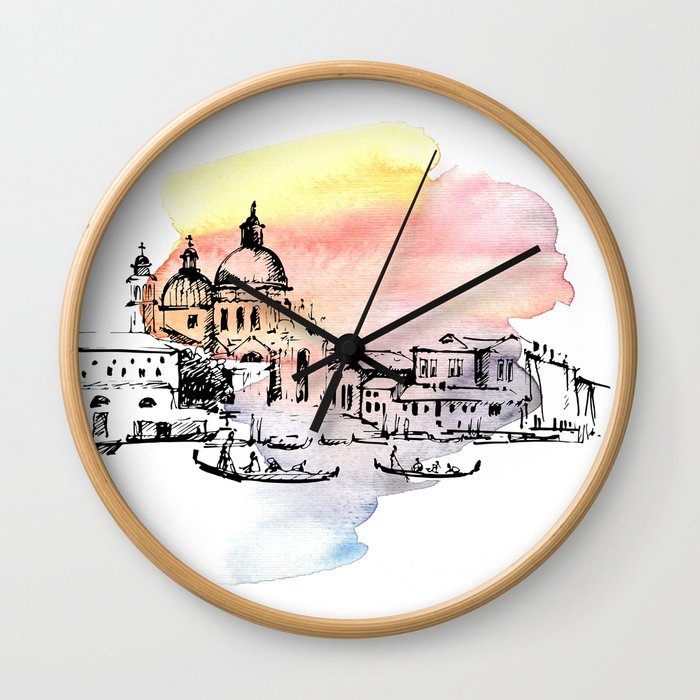 Venice. Watercolor and ink. Wall Clock