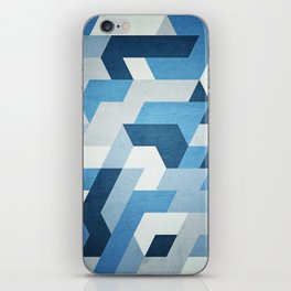 Abstract geometric triangle pattern (futuristic future symmetry) in ice blue iPhone Skin