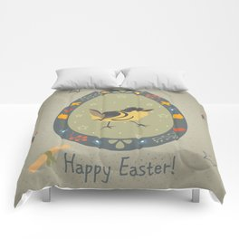 Festive Easter Egg with Cute Bird Comforters