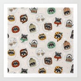 hygge raccoons Art Print