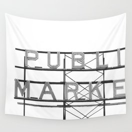 Pike Place Public Farmers Market - Black and White Wall Tapestry