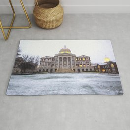 Christopher Newport Hall in the Snow Rug