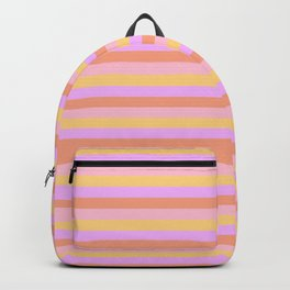 Hibiscus Hawaiian Flower Horizontal Cabana Stripes in Pink, Yellow, Peach and Lilac Backpack