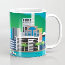 Auckland, New Zealand - Skyline Illustration by Loose Petals Coffee Mug