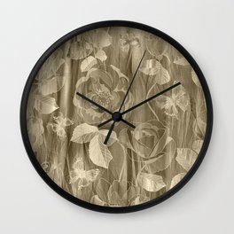 Silk with Roses and Butterflies Wall Clock