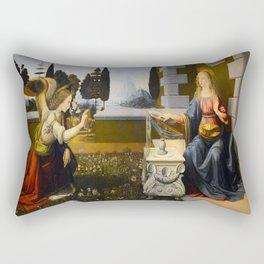 Leonardo Da Vinci's Annunciation Rectangular Pillow