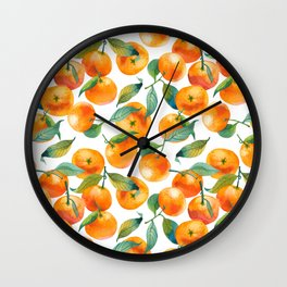 Mandarins With Leaves Wall Clock