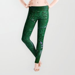 bright opal green lace star Leggings