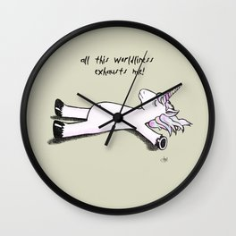 Exhausted Unicorn Wall Clock