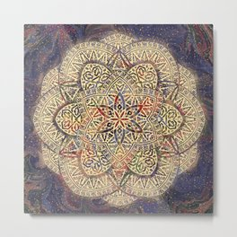 Gold Morocco Lace Mandala Metal Print