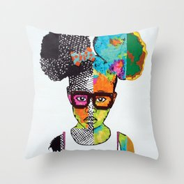 Girl with Afro Puffs Throw Pillow