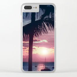 Maui Sunset Palms Clear iPhone Case