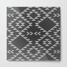 Southwestern textured navajo pattern in black & white Metal Print