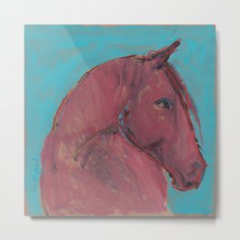 Horse (Red on turquoise) Metal Print